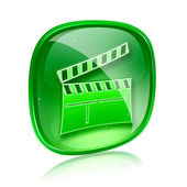 Movie clapperboard icon blue green, isolated on white background — Stock Photo