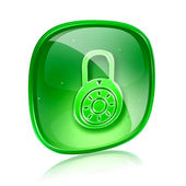 Lock off, icon green glass, isolated on white background. — Photo