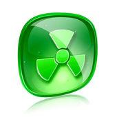 Beyaz arka plan üzerinde izole radyoaktif simgesi yeşil cam. — Stok fotoğraf