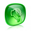 Thumb down icon green glass, isolated on white background. — Stock Photo