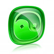 Yin yang symbol icon green glass, isolated on white background. — Stock Photo