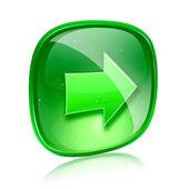 Pijl rechts pictogram groen glas, geïsoleerd op witte achtergrond. — Stockfoto