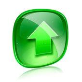 Uploaden pictogram groen glas, geïsoleerd op witte achtergrond. — Stockfoto