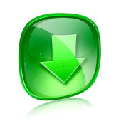 Download icon green glass, isolated on white background. — Stock Photo