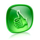 Thumb up icon green glass, approval Hand Gesture, isolated on wh — Foto de Stock