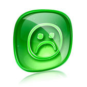 Smiley dissatisfied green glass, isolated on white background. — Stock Photo