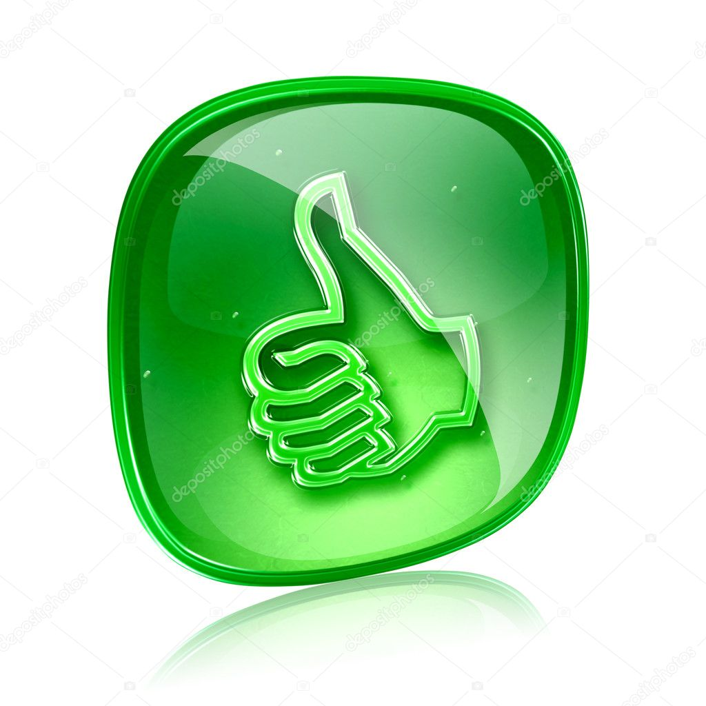 Thumb up icon green glass, approval Hand Gesture, isolated on white background.  Stock Photo #12104656