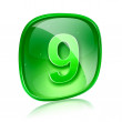 Number nine icon green glass, isolated on white background - Stock fotografie
