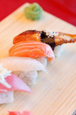 Nigiri with ginger and wasabi — Stock Photo