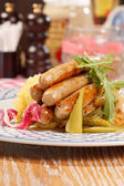 Sausages with cabbage — Photo
