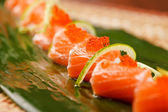 Sushi on the leaf — Stock Photo