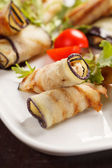Eggplant rolls stuffed with cottage cheese — Stock Photo