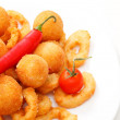 Fried onion rings and cheese balls — Stock Photo