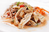Chicken with noodles and vegetables — Stock Photo