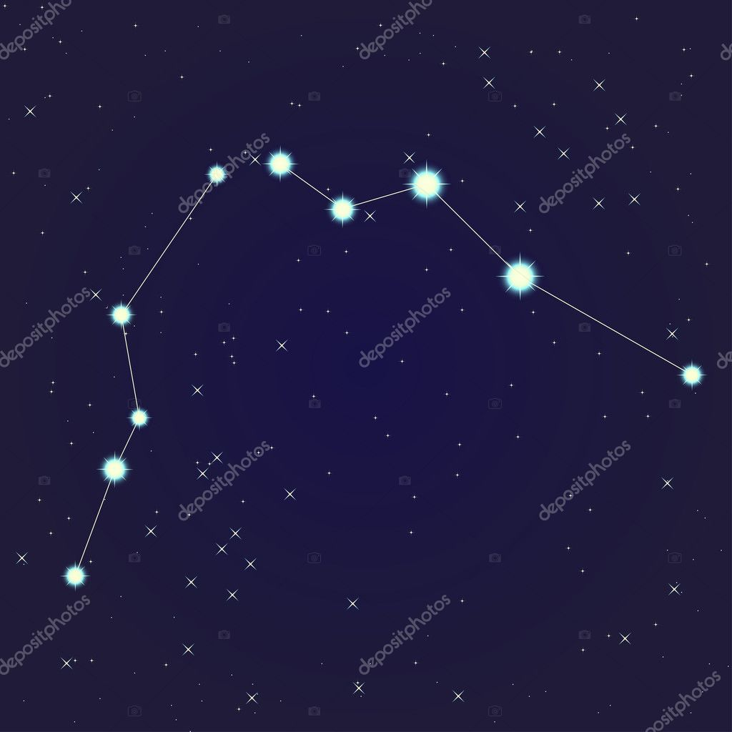 Constellation of Aquarius on night starry sky  Stok Vektr #10929259