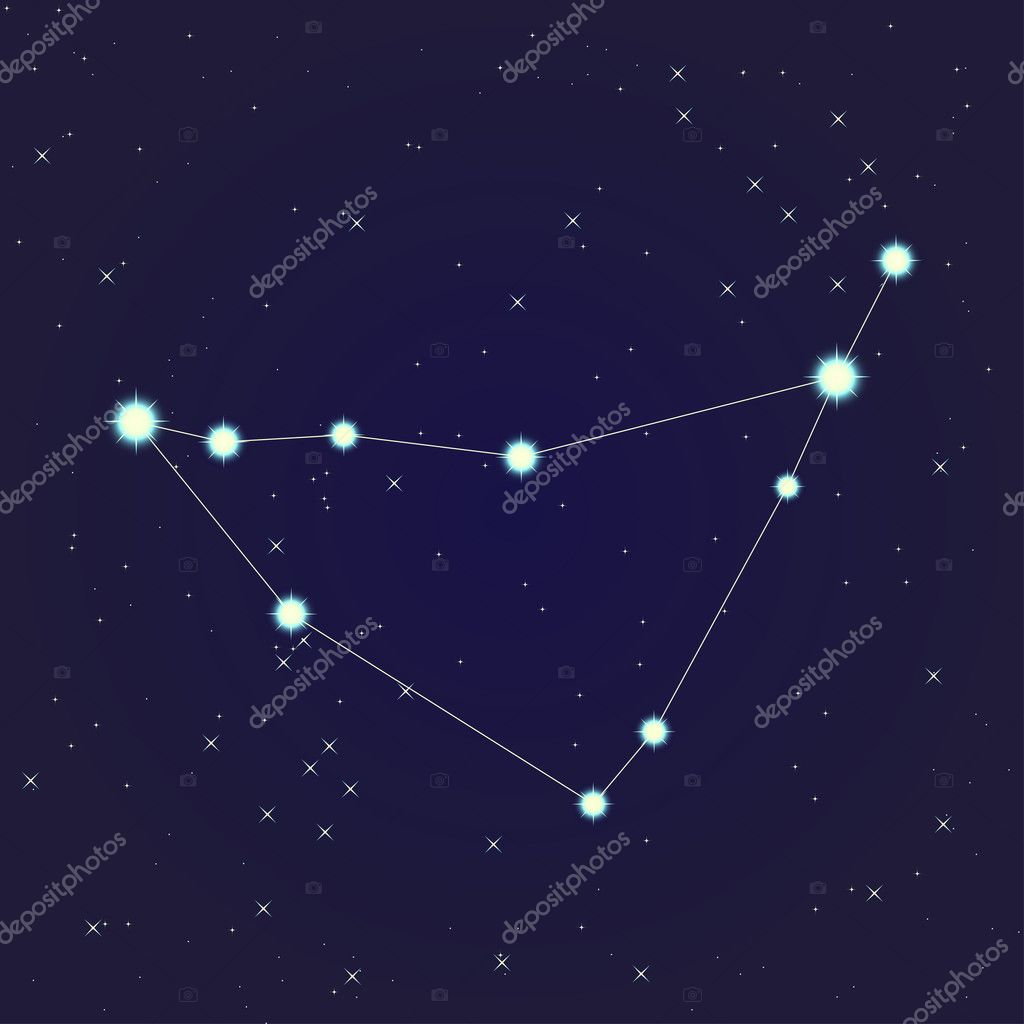 Constellation of Capricorn on night starry sky  Stock Vector #10929262