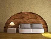 Bir kanepe ile iç — Stok fotoğraf