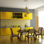 Kitchen with orange furniture — Stock Photo
