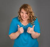Cheerful fat woman — Stock Photo