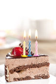 Birthday chocolate cake — Stock Photo