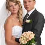 glückliche Braut und Bräutigam — Stockfoto