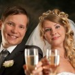 Royalty-Free Stock Photo: Happy bride and groom with champagne
