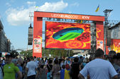 KIEV, UKRAINE - JUNE 19: Euro 2012 main Football Fan zone on Mai — Stock Photo