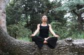 Meditatie in bos — Stockfoto
