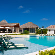 Caribbean resort with swimming pool — Stockfoto