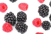 Blackberry and raspberries closeup on white — Stockfoto