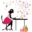 Girl loves to shop online — Imagen vectorial