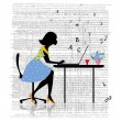 Girl working at the computer — Stock Vector
