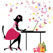 Girl loves to shop online — Stock Vector