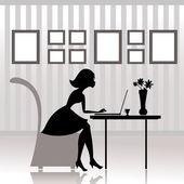Girl in the office prints — Stock Vector
