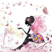 Blomsterälva i miljön av fjärilar — Stockvektor
