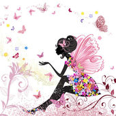Flower Fairy in the environment of butterflies — Vector de stock