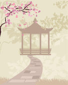 Gate china with cherry blossoms — Stock Vector