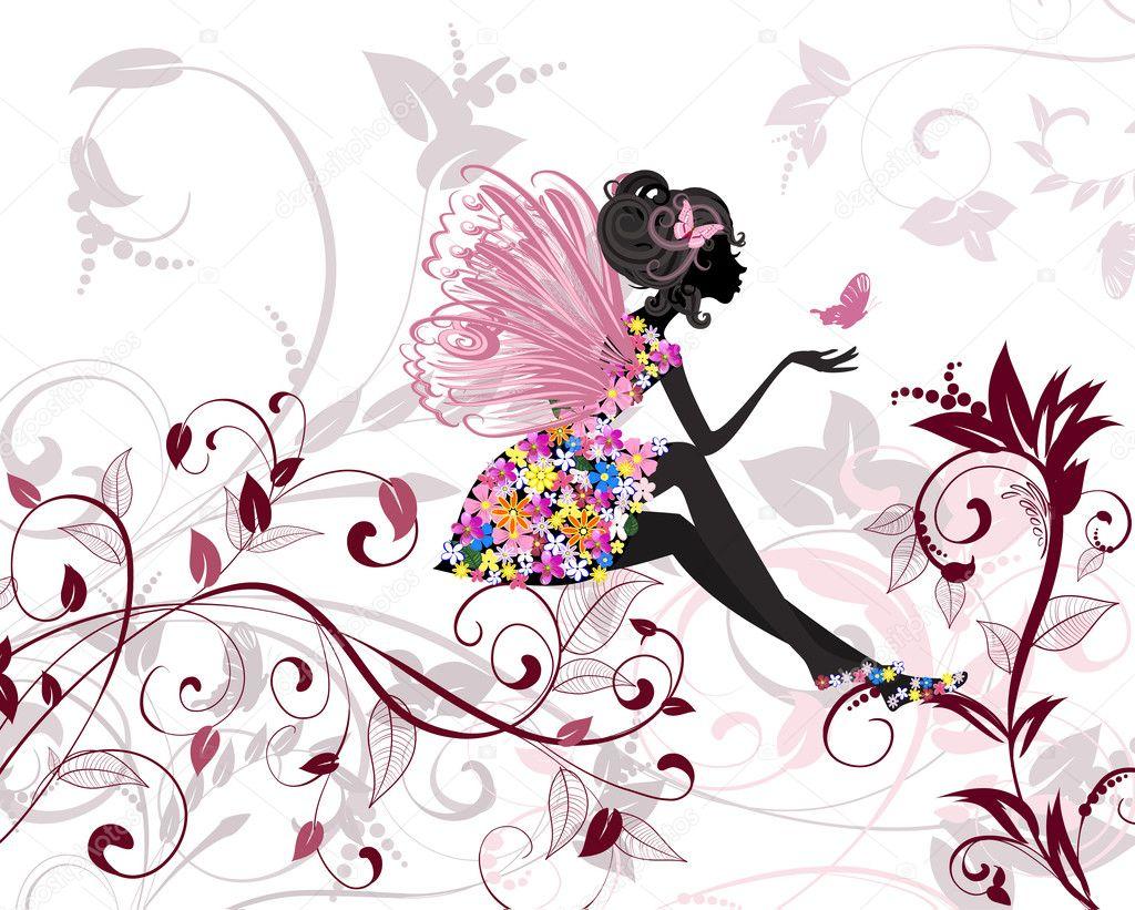 蝴蝶与花仙子 — 图库矢量图像08