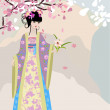 Cherry blossom and a girl in national costume — Stock Vector
