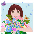 Stock Vector: Girl in love with flowers
