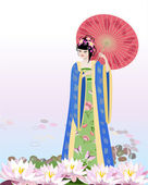 Chinese girl dressed at the lake — Stock Vector