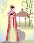 Chinese landschap met meisje — Stockvector