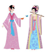 Beautiful Chinese girls in costumes — Stock Vector