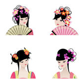 Portrait of a beautiful Chinese girls — Stock Vector