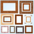 Set of retro vintage wooden frames — Stock Vector