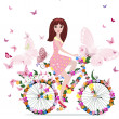 Stock Vector: Flower girl on bike