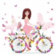 Vetorial Stock : Flower girl on bike