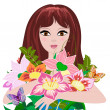 Royalty-Free Stock Vector Image: Girl with a bouquet of flowers