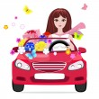 Girl in a car with gifts — Stock Vector