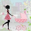 Woman with a stroller - Stock Vector